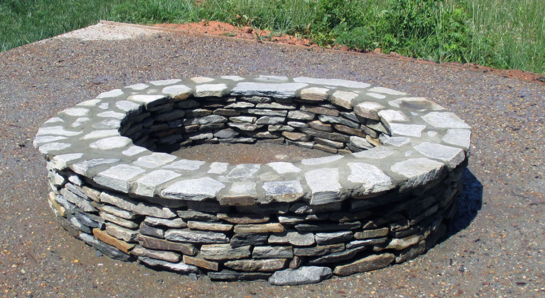 Fire Rock Mortar : Stone fire pit nc sc masonry contractor