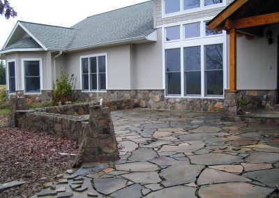 Slate Patio Entry with Stone Walled Courtyard